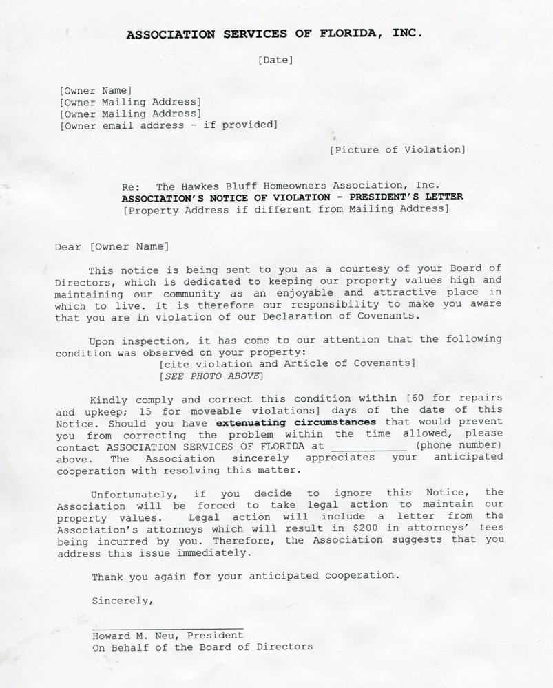 Hawkes Bluff Homeowners Association Notice of Violation